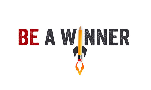 Yellow pencil rocket and ladder with business message Time to win