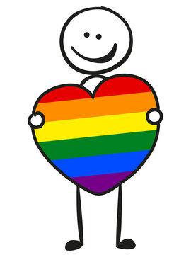 Stick figure keeps a LGBTQ coloured heart in the hands isolated