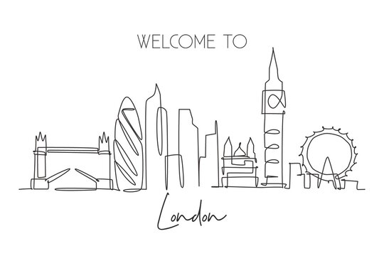 Single continuous line drawing of London city skyline. Famous city skyscraper landscape in world. World travel campaign home wall decor poster concept. Modern one line draw design vector illustration
