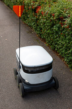 MILTON KEYNES, UK - SEPTEMBER 1, 2020 : An automated delivery robot on the pavement in the suburbs of the British town.