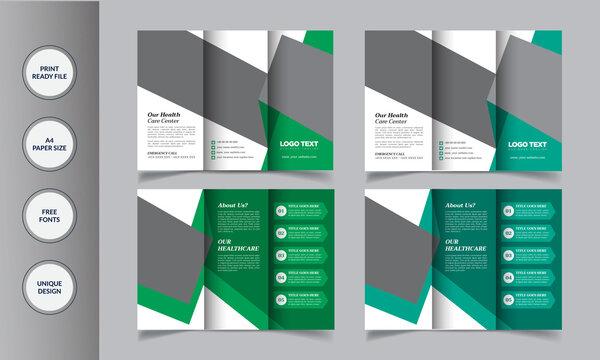 Medical & Hospital tri-fold brochure template .