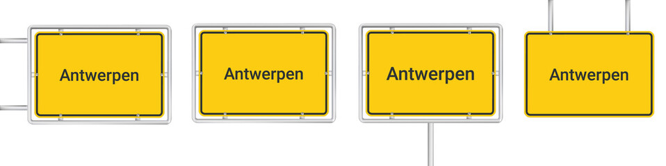 yellow road sign with Antwerpen isolated on white background