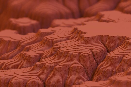 voxel blocks abstract mesa landscape computer generated
