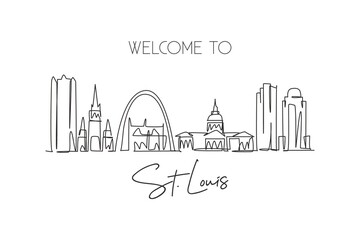 Fototapeta One single line drawing of St. Louis city skyline, USA. Historical town landscape in the world. Best holiday destination poster. Editable stroke trendy continuous line draw design vector illustration obraz
