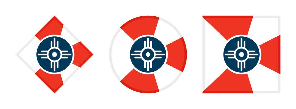wichita flag icon set. isolated on white background