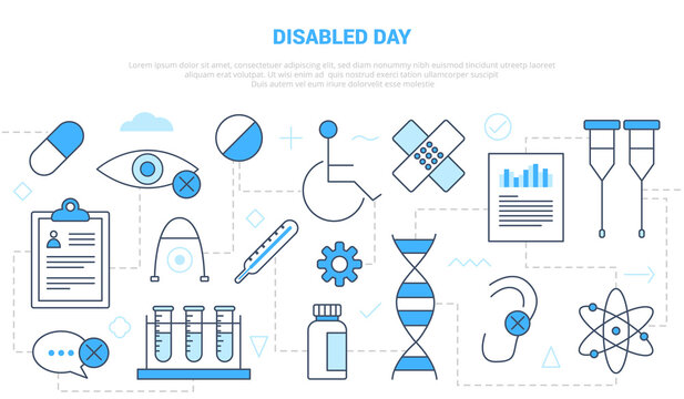 disabled day concept with icon set template banner with modern blue color style