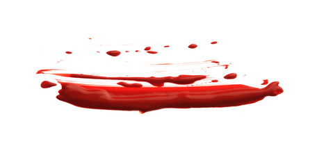 Abstract Red smear acrylic color brush stroke. Isolated on white.