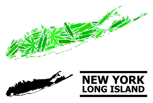 Addiction mosaic and usual map of Long Island. Vector map of Long Island is composed from random syringes, weed and alcoholic bottles. Abstract territorial plan in green colors for map of Long Island.