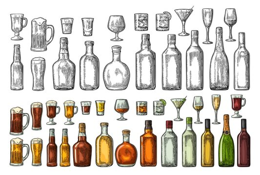 Set glass and bottle beer, whiskey, wine, gin, rum, tequila, cognac, champagne, cocktail, grog.