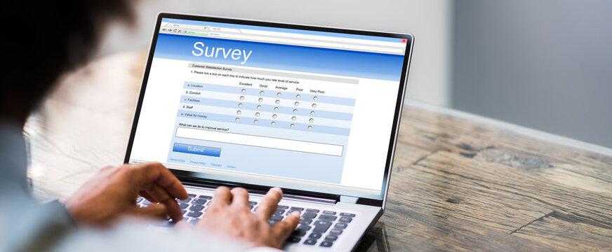Online Survey Form. Man Filling List