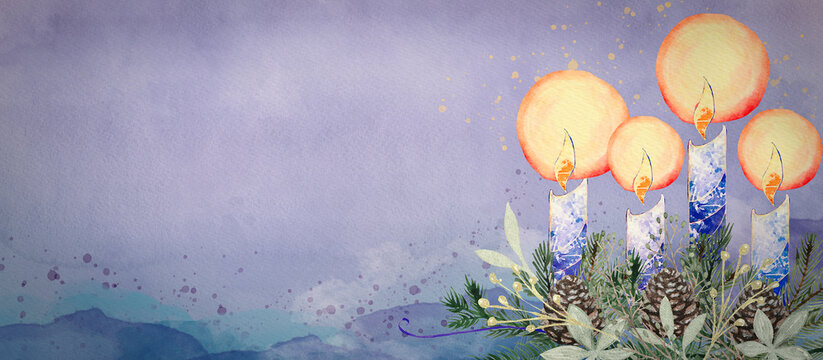 Advent Wreath with Candles. Watercolor christian background.