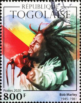 Bob Marley in concert on postage stamp of Togo