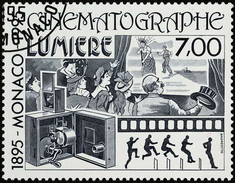 Cinematograph of Lumiere brothers on postage stamp