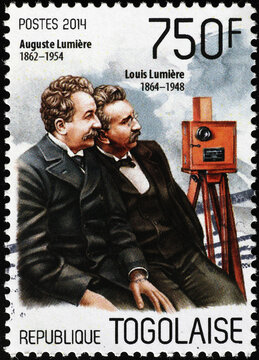 Lumiere brothers on postage stamp of Togo