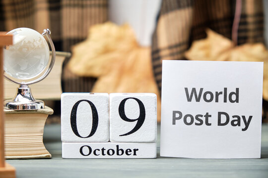 World Post Day of autumn month calendar october