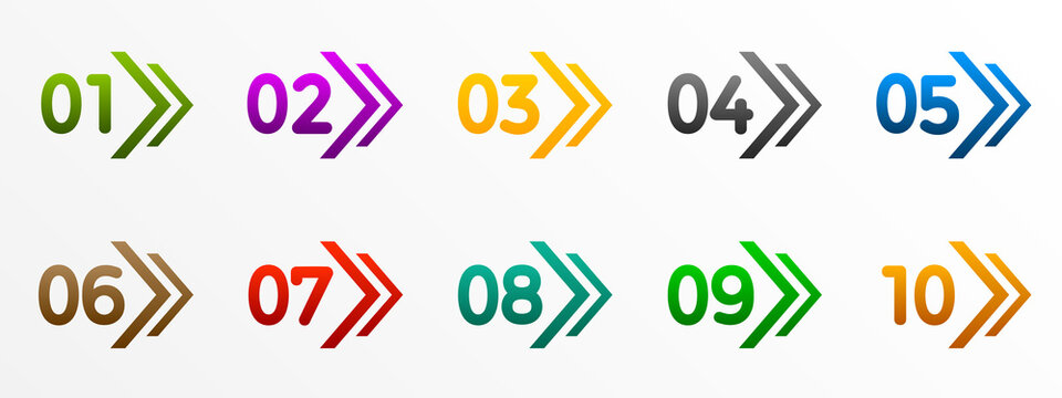 Modern colorful numbers button set with arrow multicolored – stock vector