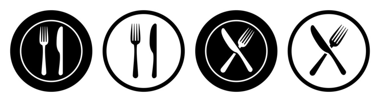 Set plate, fork and knife icons - stock vector