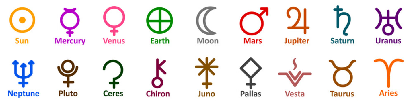 Set of simple astrology symbols icon of planets, celestial bodies, zodiac constellations, aspects, nodes, astronomy, star maps, horoscopes. Collection astrology signs - stock vector