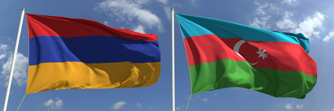 Flying flags of Armenia and Azerbaijan on high flagpoles. 3d rendering