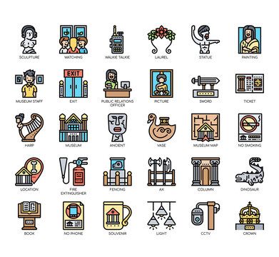 Set of museum thin line and pixel perfect icons for any web and app project.