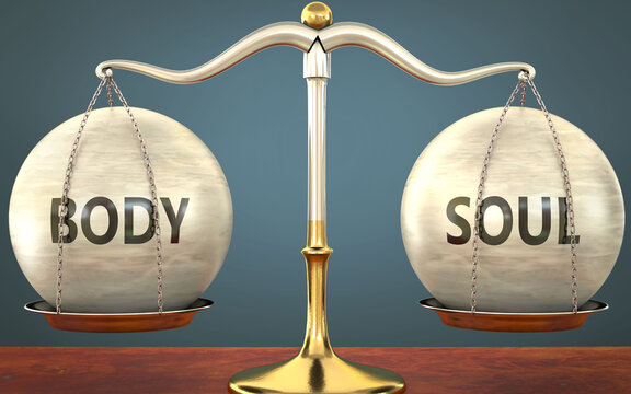 Metaphor of body and soul staying in balance - showed as a metal scale with weights and labels body and soul to symbolize balance and symmetry of body and soul in life or business, 3d illustration