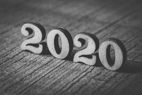 Year 2021 wooden numbers on wooden background