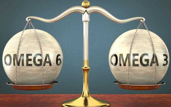 omega 6 and omega 3 staying in balance - pictured as a metal scale with weights and labels omega 6 and omega 3 to symbolize balance and symmetry of those concepts, 3d illustration