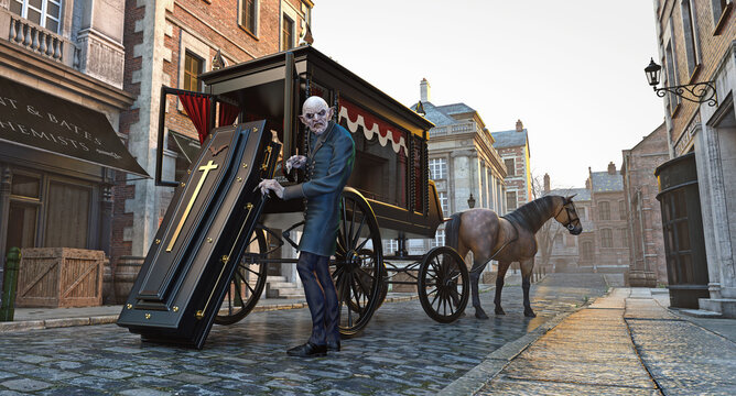 A Vampire In London loading coffin onto a Victorian Style Hearse