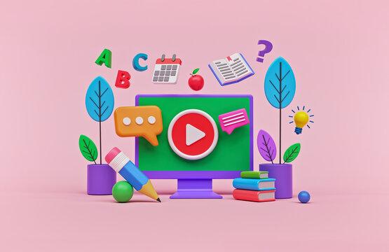 Online education concept design for website banner, presentation, poster and advertising. 3d rendering