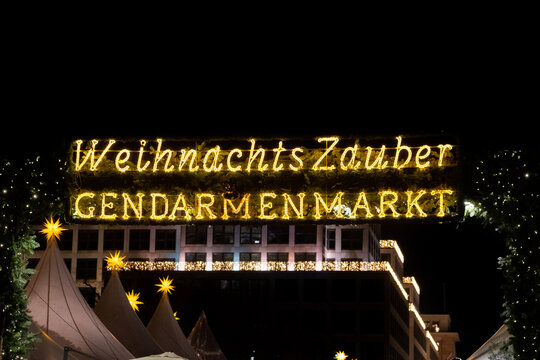 Tradition Christmas Market of Gendarmenmarkt at night time. Berlin, Germany