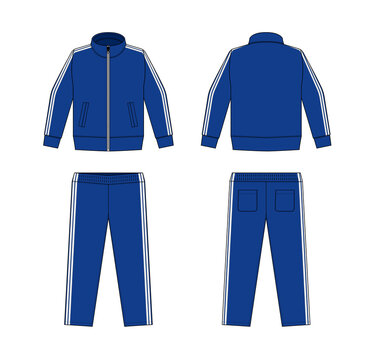 Casual jersey suits (for sports, training etc.) vector illustration set / white and blue