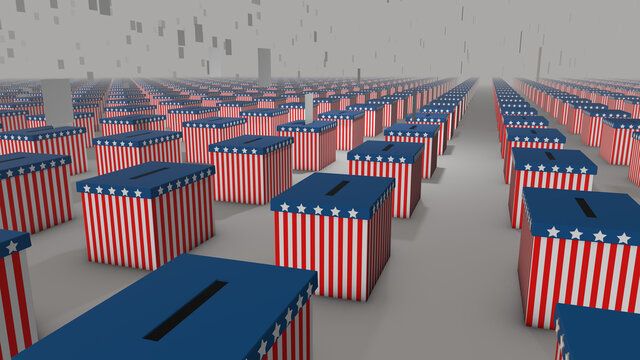 USA Election, 3d generated illustration of votes falling into ballot boxes in American Flag colors stretching to the horizon