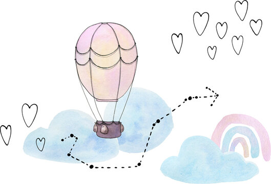 Little dreamer is a collection of hand-drawn watercolor and vector line art kids illustrations of air balloon, lighthouse, ship, airship, airplane, submarine, constellations, clouds, hearts and stars.