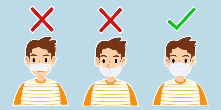 Three men showing how to wearing face mask correctly and incorrectly in flat design. The correct wearing mask are prevent the spread of the coronavirus and Covid-19 disease.