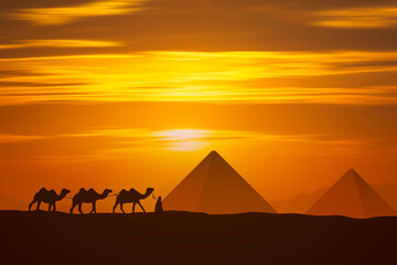 indian and camel and pyramid at sunset