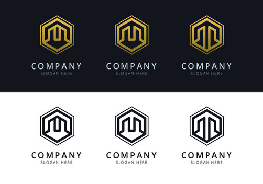 Initial M logo inside hexagon shape in gold and black color