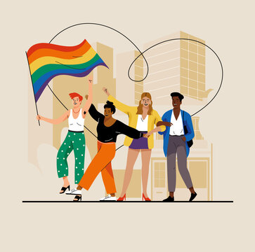 Illustration of smiling men and women dancing with rainbow flag on street