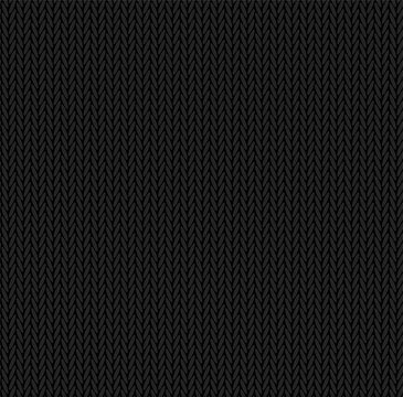 Knit texture black color. Vector seamless pattern fabric. Knitting background flat design.