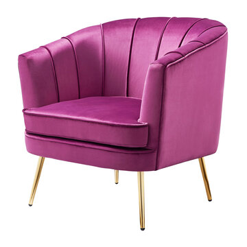 Contemporary Upholstered Velvet Accent Chair Isolated on White. Modern Lilac Pink Faux Leather Wingback Club Armchair with Wing Armrests & Metal Feet Front Side View. Interior Furniture