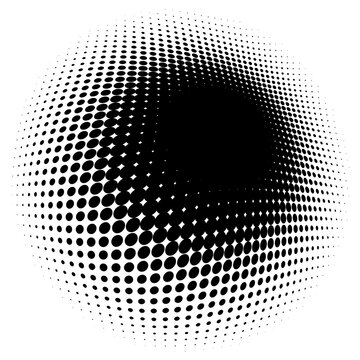 Spherical distortion halftone dots element. Orb, ball deform on bulge, bump speckles, polka-dots and screentone.Pointillist, pointillism abstract geometric circle element, pattern.Curve,camber FX
