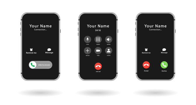 Three smartphones. Phone call screen installed. Accept button, reject button. Incoming call. Interface. Phone call screen template mockup.
