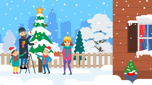 happy family decorate christmas tree at backyard winter holidays vector illustration