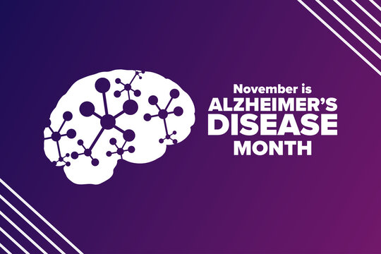 November is National Alzheimer's Disease Awareness Month. Holiday concept. Template for background, banner, card, poster with text inscription. Vector EPS10 illustration.