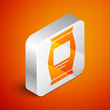 Isometric Fertilizer bag icon isolated on orange background. Silver square button. Vector.