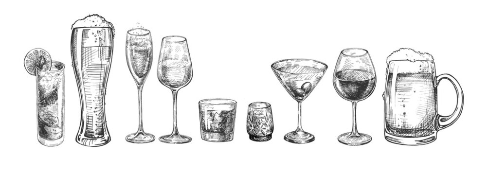 types of alcohol drinks glasses