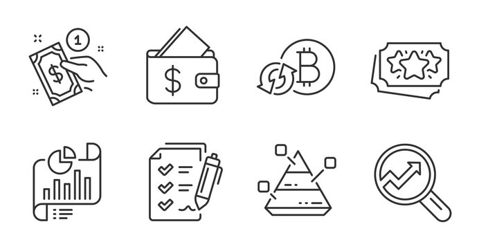 Wallet, Loyalty points and Report document line icons set. Refresh bitcoin, Survey checklist and Analytics signs. Pyramid chart, Payment method symbols. Quality line icons. Wallet badge. Vector