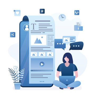 Woman blogger works on laptop. Female journalist. Blogging, copywriting concept. Smartphone with social network app or blog.
