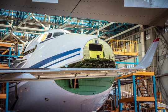 """ULYANOVSK, RUSSIA - 19 AUGUST 2017. Day of air forces. A closeup of an airplane assembling in a plant """"Aviastar""""."""