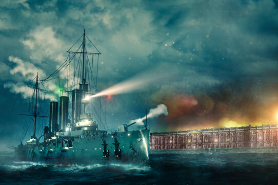 October revolution 1917 in Saint Petersburg battleship Aurora