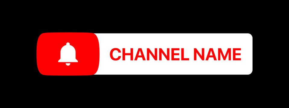 Youtube Channel Name Title With Subscribe Button. Social Media Vector Element On Black Background